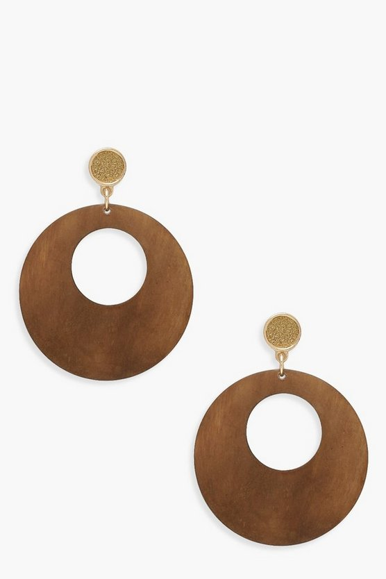 Womens Brown Wooden Circle Earrings