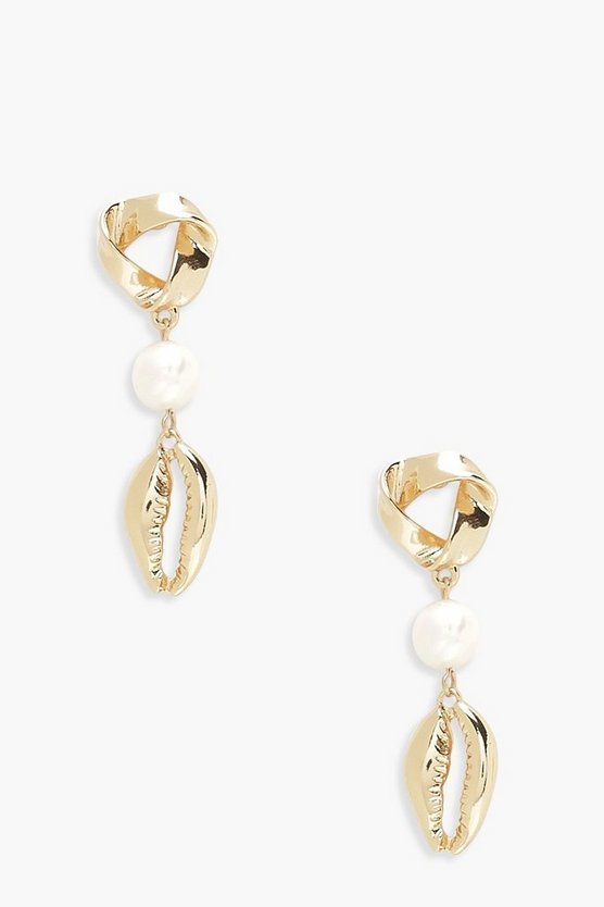 Womens Gold Pearl & Gold Shell Drop Earrings