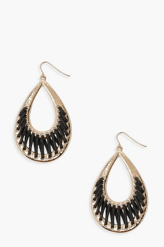 Womens Black Rope Wrap Teardrop Earrings