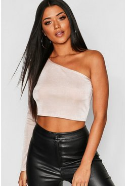 Womens Stone Slinky One Shoulder Long Sleeve Crop