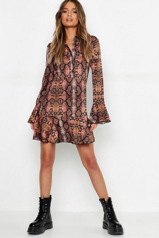 Snake Print Ruffle Hem Shirt Dress