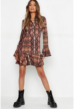 Womens Rust Snake Print Ruffle Hem Shirt Dress