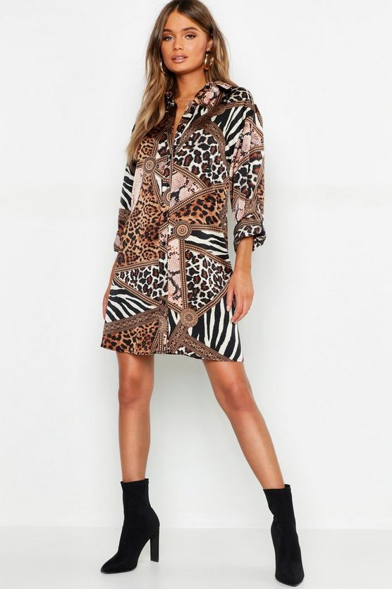 Womens Brown Mixed Animal Scarf Print Shirt Dress