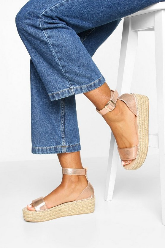 Womens Rose gold 2 Part Metallic Espadrille Flatforms