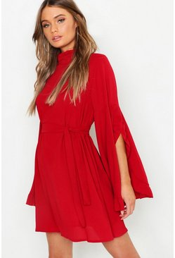 Womens Berry Boho High Neck Wide Sleeve Shift Dress