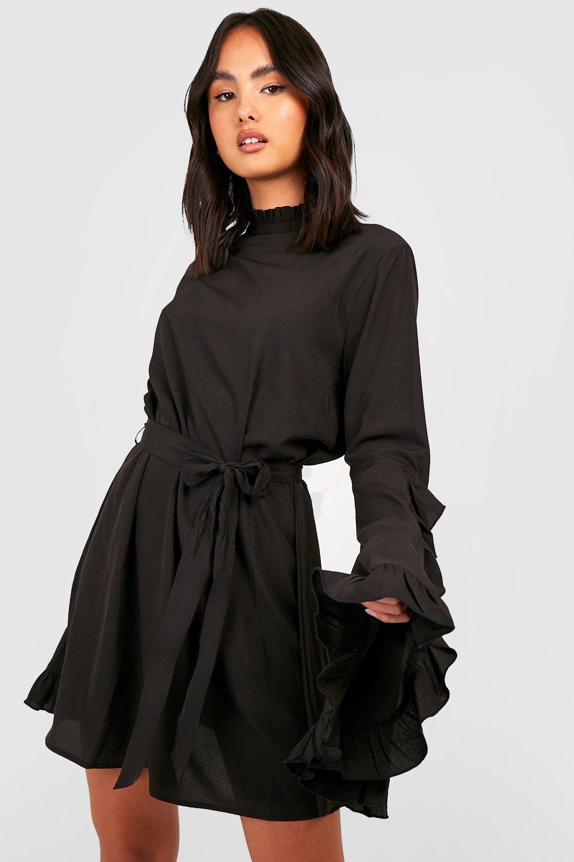 70s Dresses – Disco Dress, Hippie Dress, Wrap Dress Womens Boho High Neck Wide Sleeve Shift Dress - black - 12 $52.00 AT vintagedancer.com