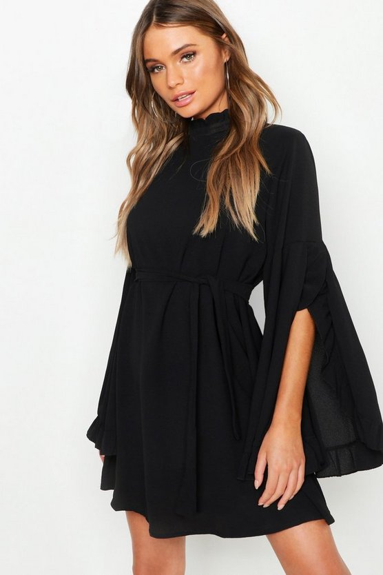 Womens Black Boho High Neck Wide Sleeve Shift Dress