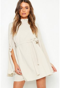 Womens Ecru Boho High Neck Wide Sleeve Shift Dress