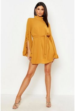 Mustard Boho High Neck Wide Sleeve Shift Dress