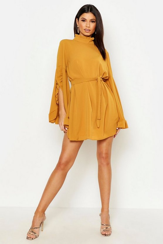 Womens Mustard Boho High Neck Wide Sleeve Shift Dress