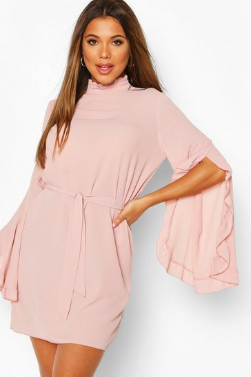 Soft pink Boho High Neck Wide Sleeve Shift Dress