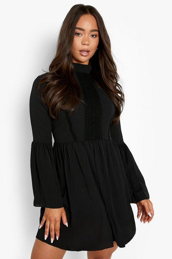 Womens Black Boho Crochet Detail Wide Sleeve Smock Dress