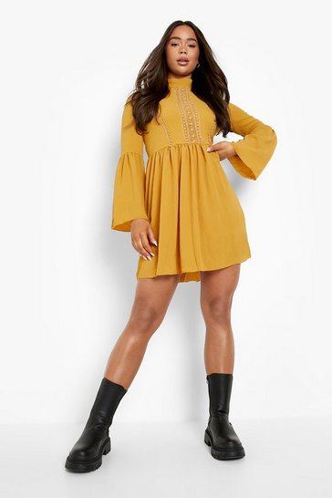 Mustard Boho Crochet Detail Wide Sleeve Smock Dress