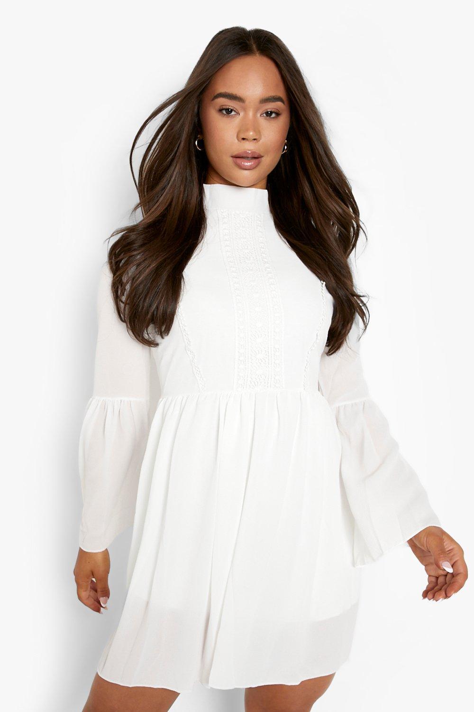 70s Dresses – Disco Dress, Hippie Dress, Wrap Dress Womens Boho Crochet Detail Wide Sleeve Smock Dress - white - 12 $29.00 AT vintagedancer.com