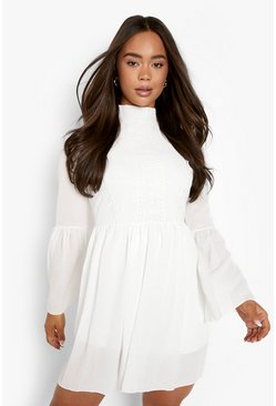 Womens White Boho Crochet Detail Wide Sleeve Smock Dress