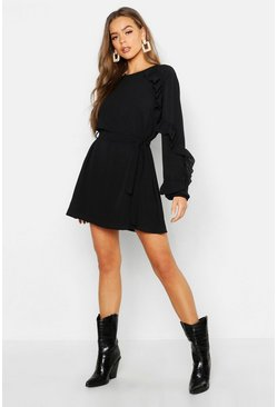 Womens Black Boho Ruffle Detail Shift Dress