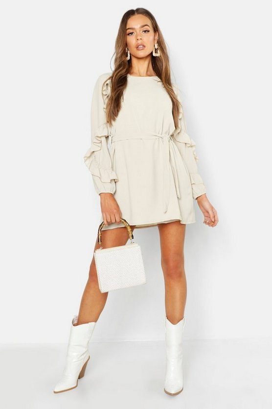 Womens Ecru Boho Ruffle Detail Shift Dress