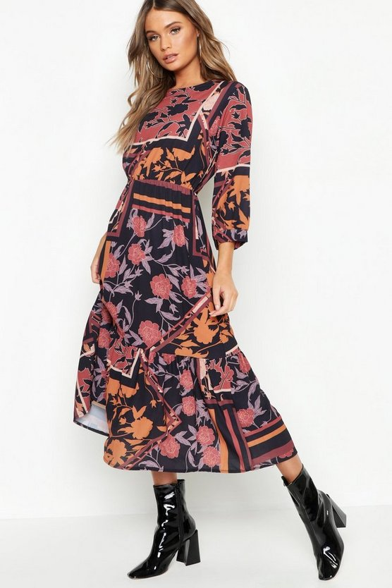 Womens Black Boho Scarf Print Ruffle Hem Midi Dress