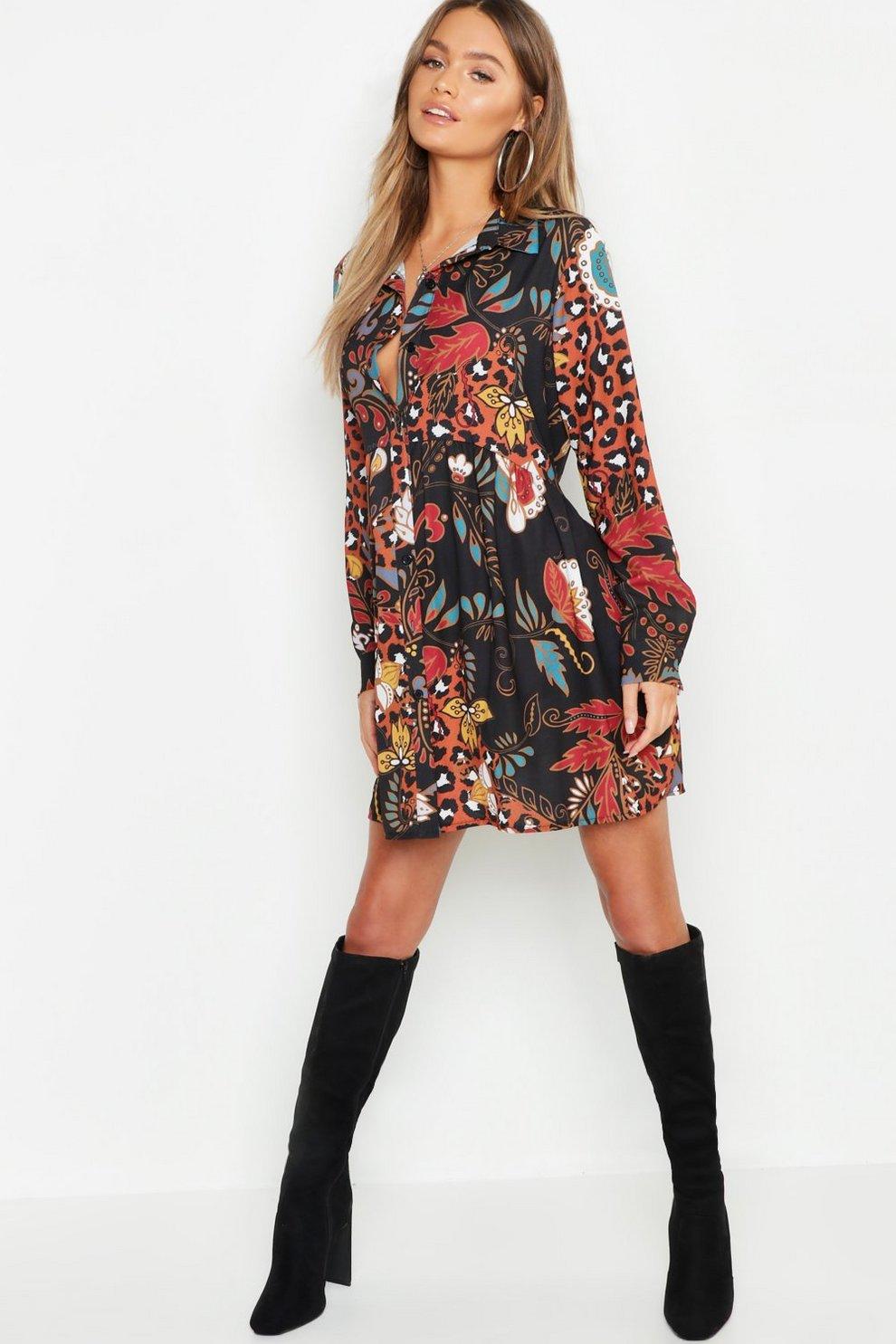 7768107e024a Boho Mix Print Oversized Smock Dress | Boohoo