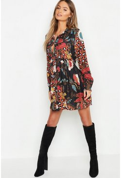 Womens Black Boho Mix Print Oversized Smock Dress