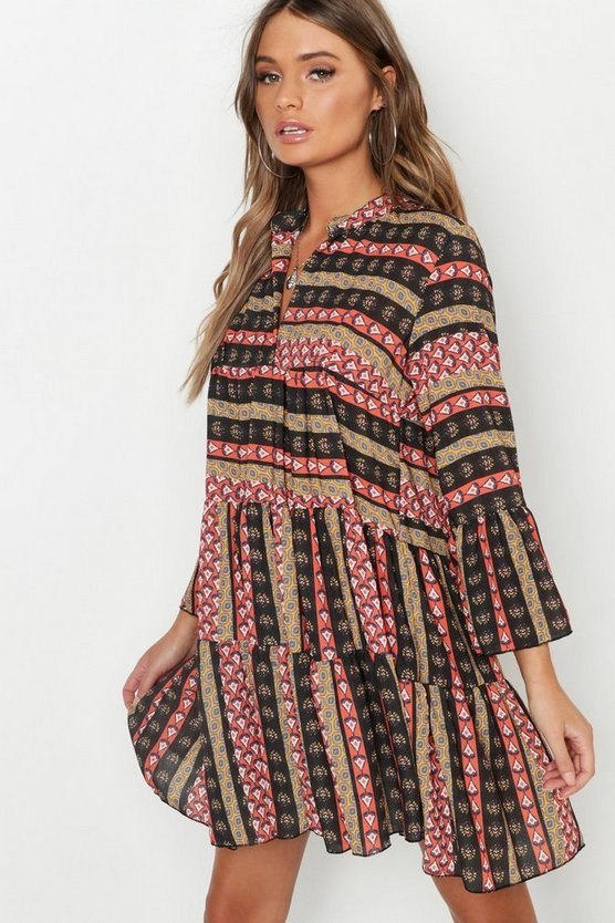 Womens Red Boho Mixed Print Smock Dress
