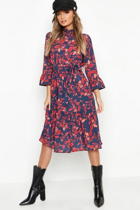 Boho Floral Ruffle Hem Midi Dress