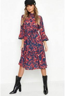 Womens Navy Boho Floral Ruffle Hem Midi Dress