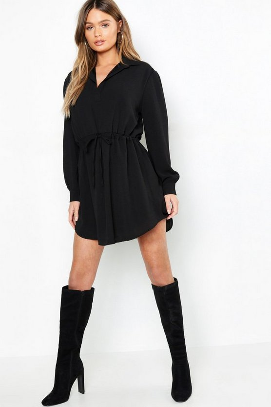 Womens Black Oversized Drawcord Waist Shirt Dress