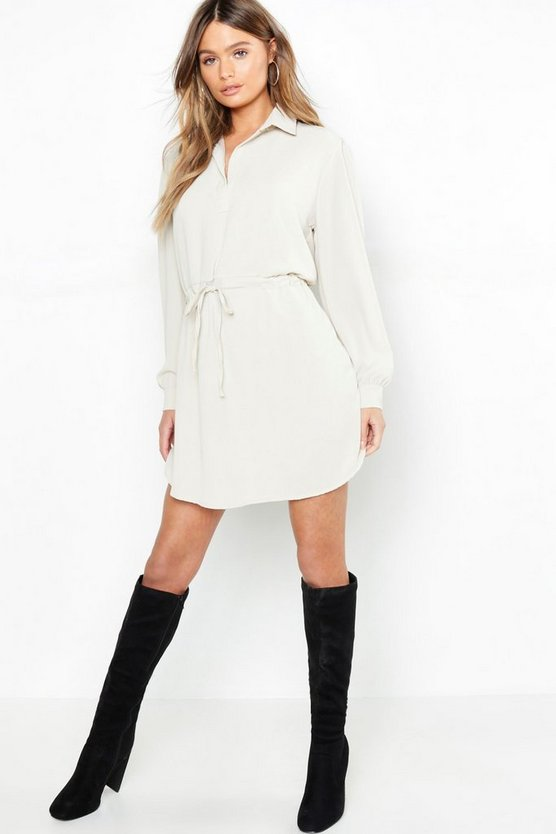 Oversized Drawcord Waist Shirt Dress