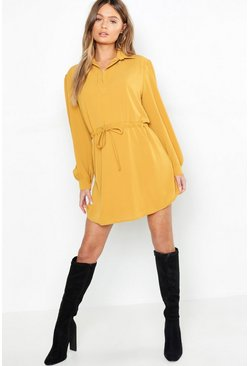 Womens Mustard Oversized Drawcord Waist Shirt Dress
