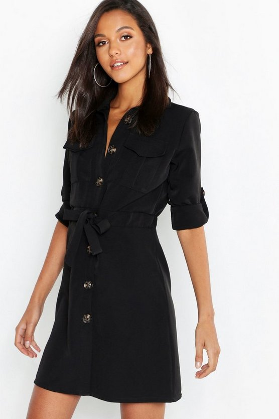 Womens Black Utility Drawcord Waist Pocket Shirt Dress