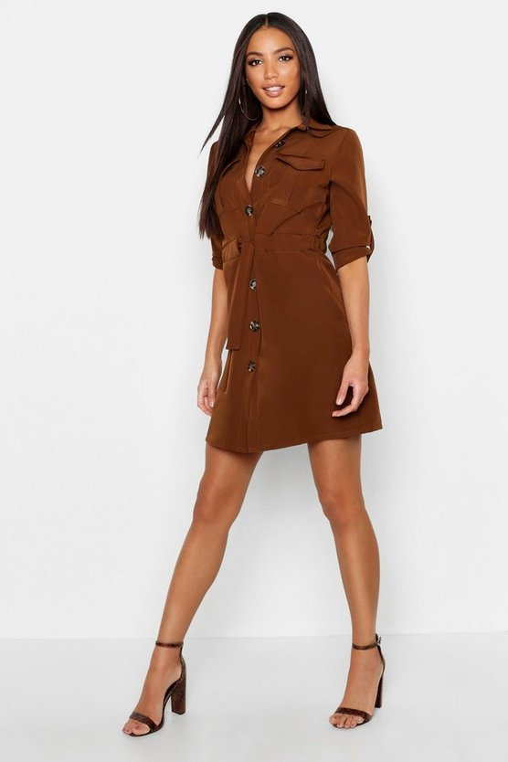 Womens Chocolate Utility Drawcord Waist Pocket Shirt Dress
