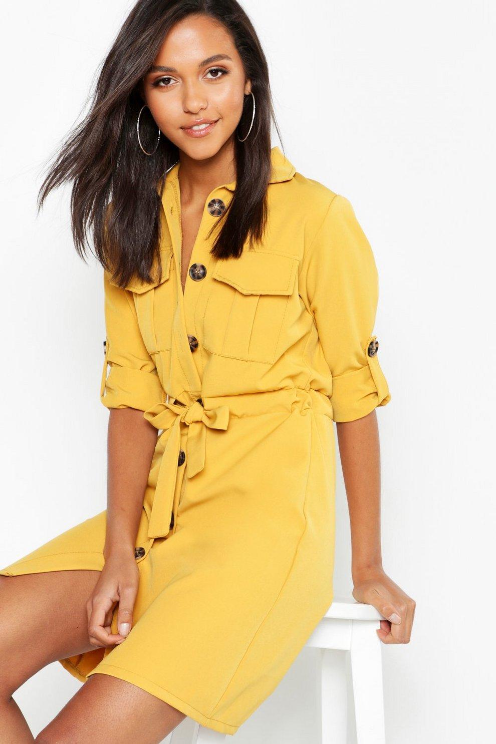 1b6542db8d Robe chemise fonctionnelle à cordon de serrage à la taille et poche ...