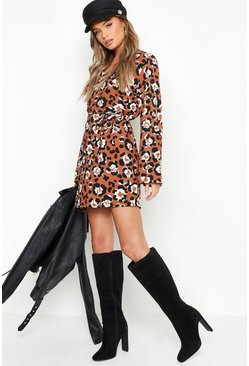 Womens Brown Oversized Leopard Belted Shift Dress