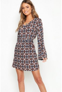 Womens Brown Oversized Geo Print Belted Shift Dress