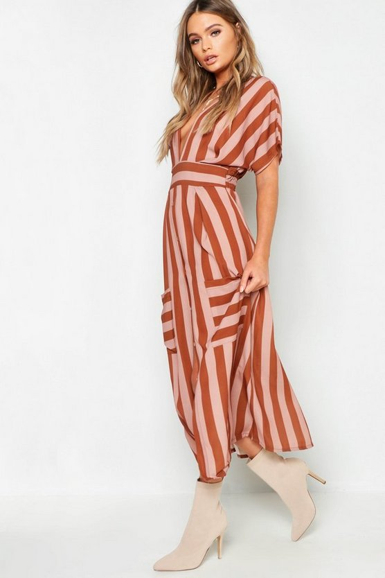 Womens Brown Tonal Stripe Pocket Detail Midi Dress