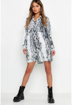 Grey Snake Print Oversized Smock Dress