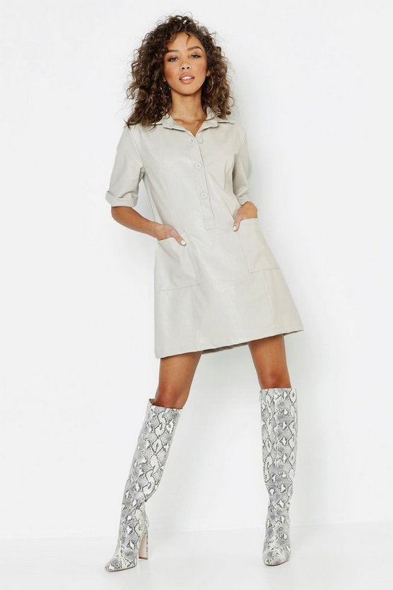 Womens Faux Leather Pocket Shirt Dress