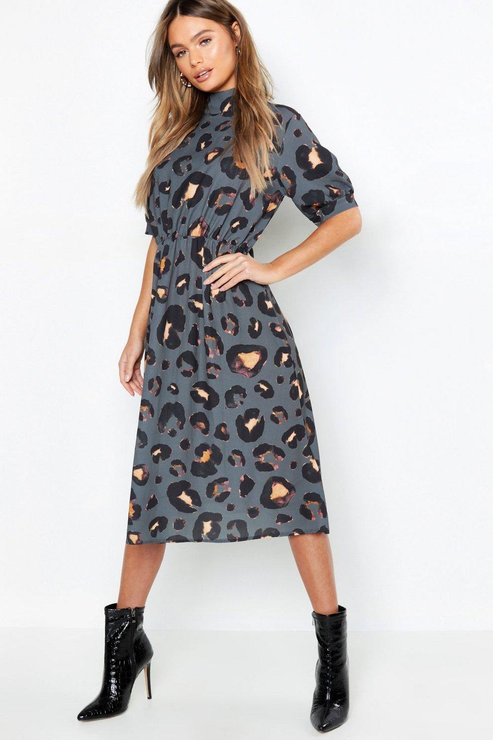 2b49ddc78d06 Leopard Print High Neck Midi Dress | Boohoo