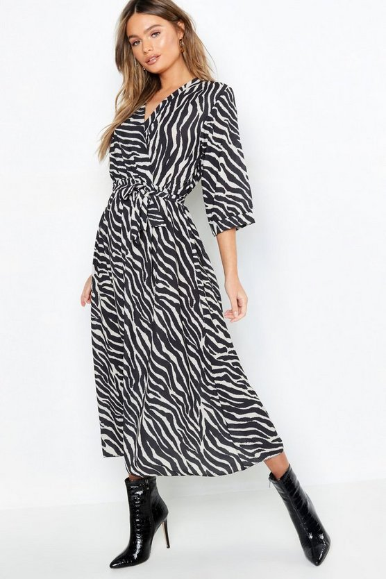 Black Zebra Wrap Front Belted Midi Dress