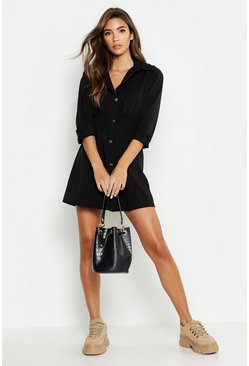 Womens Black Tonal Utility Shirred Waist Shirt Dress