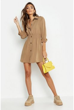 Dam Taupe Tonal Utility Shirred Waist Shirt Dress