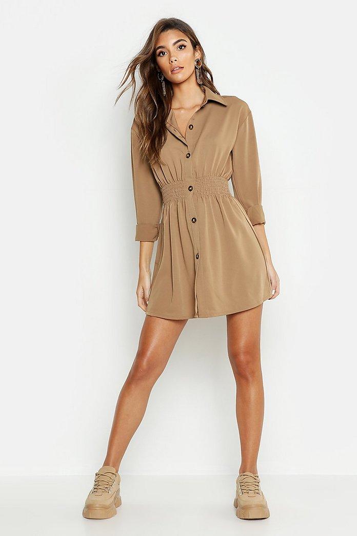Tonal Utility Shirred Waist Shirt Dress | boohoo