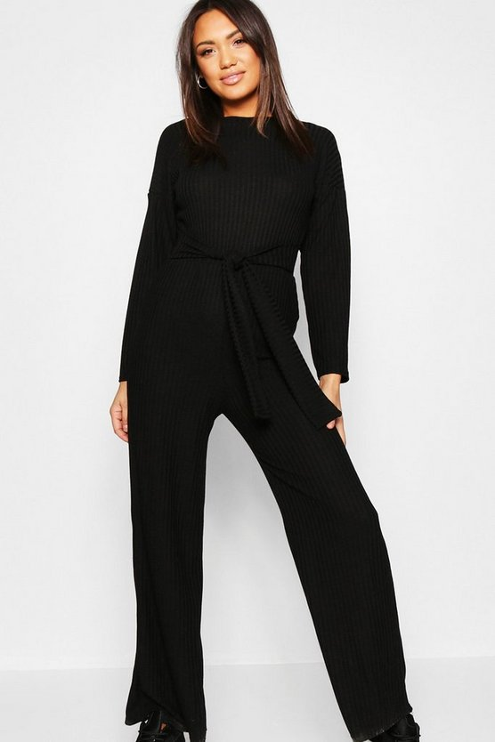Womens Black Knitted Tie Waist Co-ord