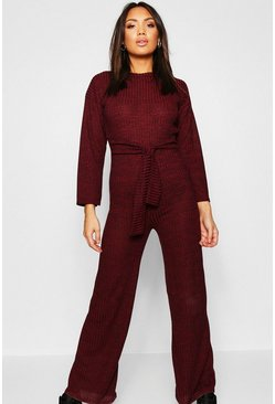 Womens Wine Knitted Tie Waist Co-ord