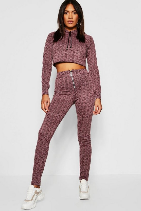Berry Drawstring Zip Hoodie detail Knitted Co-ord