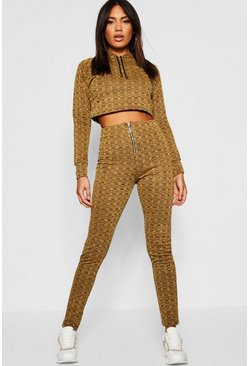 Womens Mustard Drawstring Zip Hoodie detail Knitted Co-ord