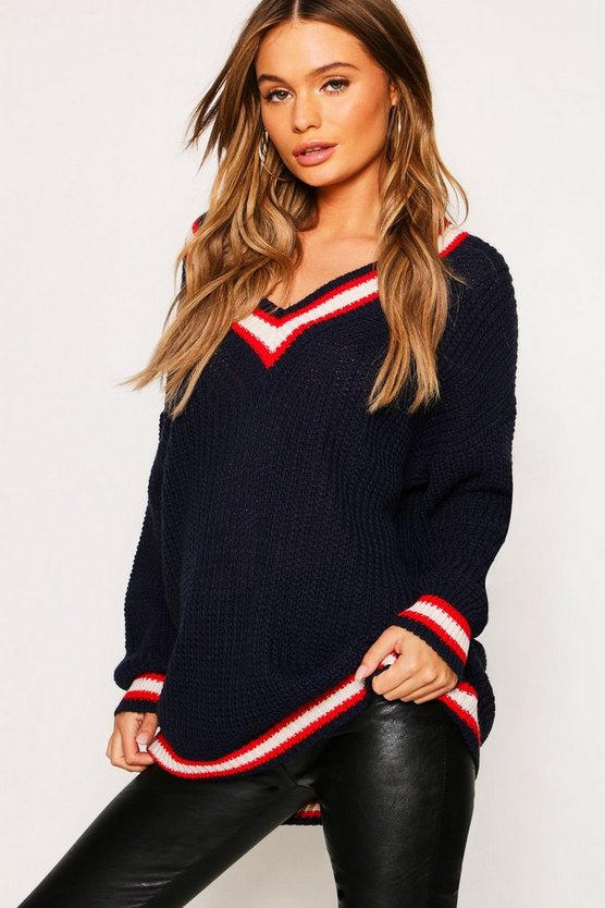 Womens Navy Oversize Deep V Neck Trim Cricket Jumper
