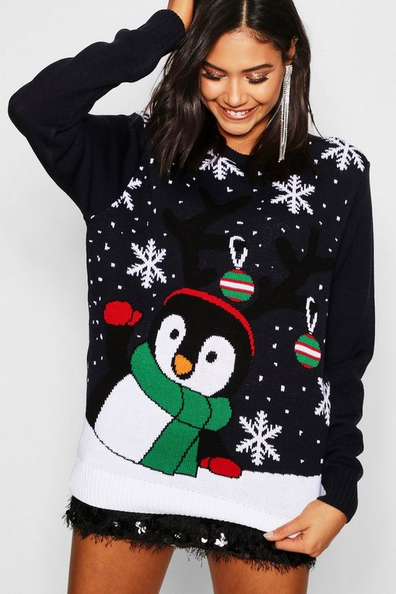 Navy Penguin With Snowflakes & Baubles Christmas Jumper