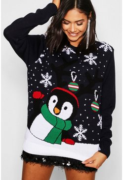 Womens Navy Penguin With Snowflake Christmas Sweater